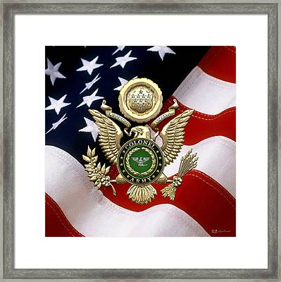 U. S. Army Colonel - C O L Rank Insignia Over Gold Great Seal Eagle And Flag Framed Print
