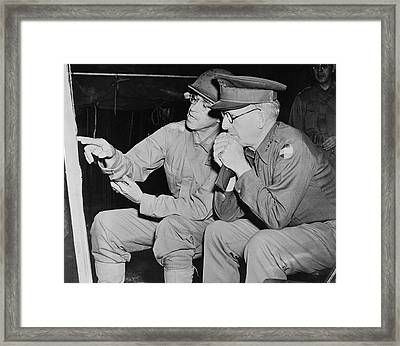 U.s. Army Generals Looking At A Map Framed Print