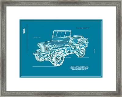 Us Army Jeep In World War 2 Art Sketch Poster-2 Framed Print by Kim Wang