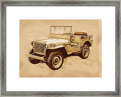 Us Army Jeep In World War 2 - Stylised Modern Drawing Art Sketch Framed Print
