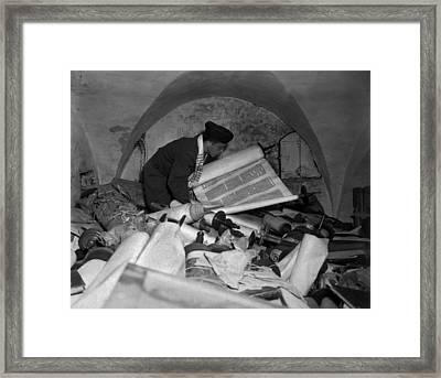 Us Army Jewish Chaplain Examines Torahs Framed Print by Everett