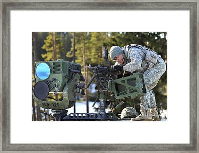 U.s. Army Paratrooper Clears An M240 Framed Print by Stocktrek Images