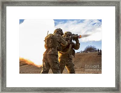 U.s. Army Rangers Fire An At-4 Framed Print by Stocktrek Images