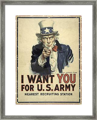 Us Army Recruitment Poster Framed Print by Library Of Congress