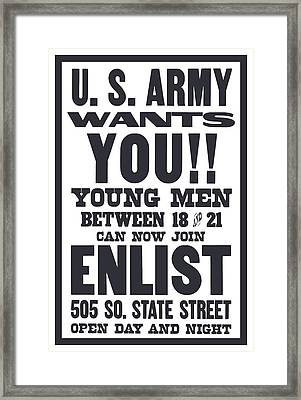 Us Army Wants You - Ww1 Framed Print by War Is Hell Store