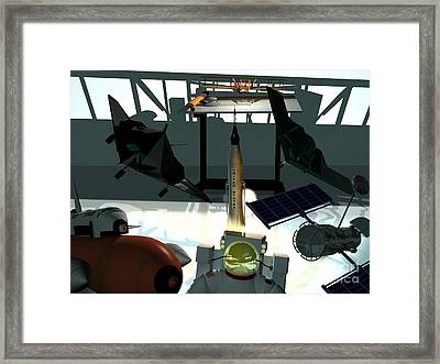 U.s.a. Aviation Inventions That Changed The World. Framed Print by R Muirhead Art