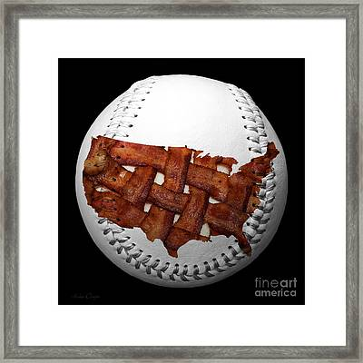 Us Bacon Weave Map Baseball Square Framed Print by Andee Design