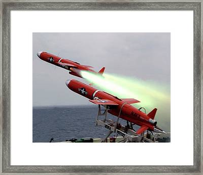 Us Bqm-74 Test Drones Launch Framed Print by Us Navy/nicholas C. Messina