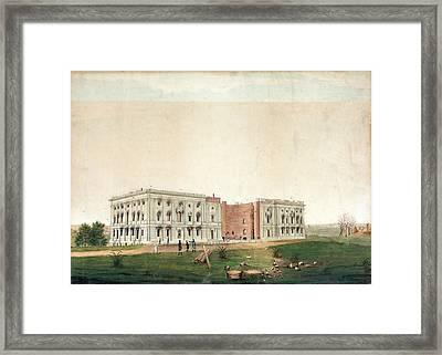 Us Capitol After 1814 Burning Framed Print