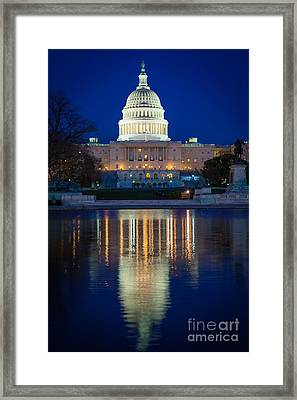 Us Capitol Reflections Framed Print by Inge Johnsson