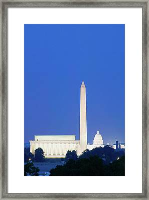 Us Capitol, Washington Monument Framed Print