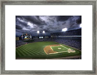 Framed Print featuring the photograph Us Cellular Field Twilight by Shawn Everhart
