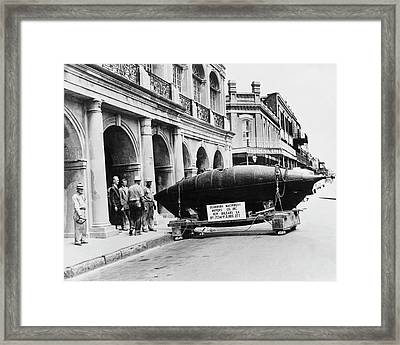 Us Civil War Submarine Framed Print by Us Navy