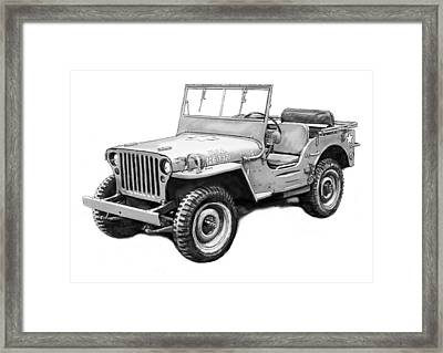 Us Classical Jeep Car In World 2 Drawing Art Poster Framed Print