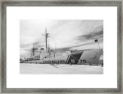 Us Coast Guard Cutter Ingham Whec-35 - Key West - Florida - Black And White Framed Print by Ian Monk