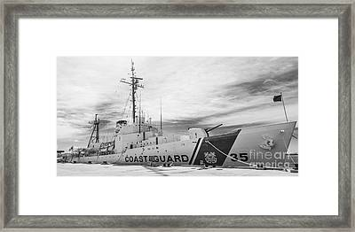 Us Coast Guard Cutter Ingham Whec-35 - Key West - Florida - Panoramic - Black And White Framed Print by Ian Monk