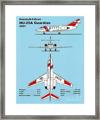 Coast Guard Dassault-falcon Framed Print by Jerry McElroy - Public Domain Image