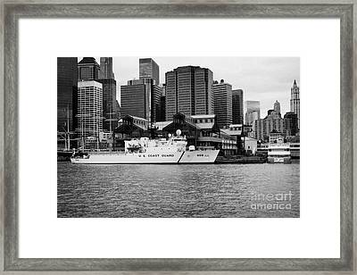 Us Coastguard Cutter Vessel Ship Berthed In Lower Manhattan On The East River New York City Framed Print