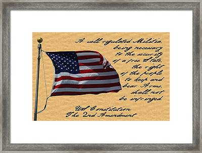Us Constitution 2nd Amendment Flag Framed Print by Robyn Stacey