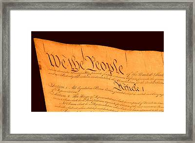 Us Constitution Closest Closeup Brown Background Framed Print by L Brown