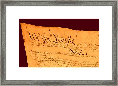 Us Constitution Closest Closeup Red Brown Background Framed Print by L Brown