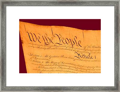 Us Constitution Closeup Violet Red Bacjground Framed Print by L Brown