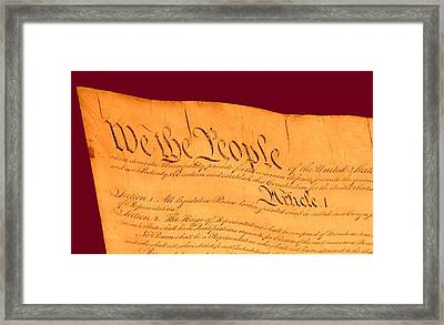 Us Constitution Closest Closeup Violet Red Background Framed Print by L Brown