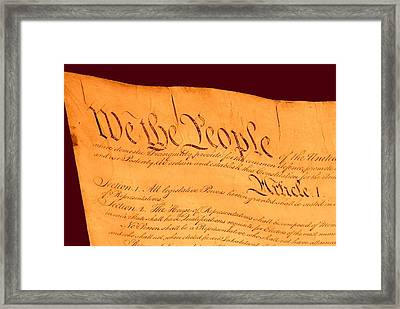 Us Constitution Closeup Red Brown Background Framed Print by L Brown