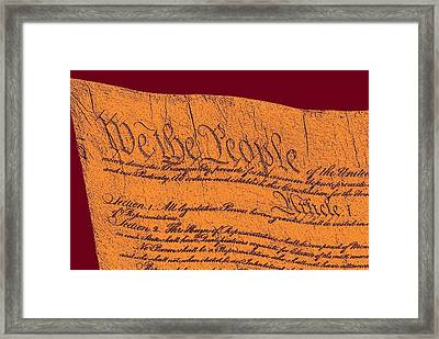 Us Constitution Closeup Sculpture Violet Red Background Framed Print by L Brown