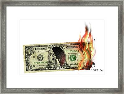 Us Dollar Crisis Framed Print