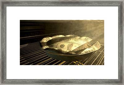 Us Dollar Money Pie Baking In The Oven Framed Print