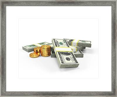 Us Dollars And Golden Coins Framed Print by Sebastian Kaulitzki