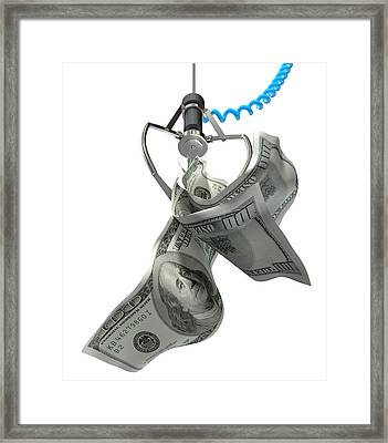 Us Dollars In A Robotic Claw Framed Print by Allan Swart