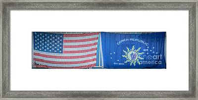 Us Flag And Conch Republic Flag Key West  - Panoramic - Hdr Style Framed Print