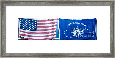 Us Flag And Conch Republic Flag Key West  - Panoramic Framed Print by Ian Monk