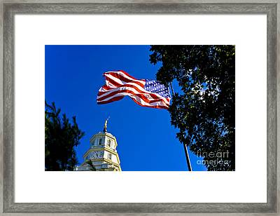 Flag And Moroni Framed Print