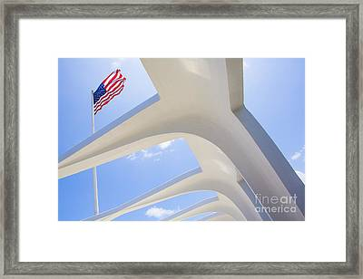 U.s.  Flag At The Uss Arizona Memorial Framed Print by Diane Diederich