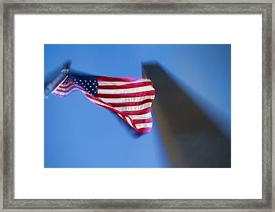 Us Flag At Washington Monument At Dusk Framed Print by David Smith