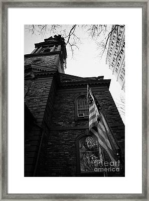 Us Flag Flying Outside St Pauls Chapel Ground Zero New York City Framed Print by Joe Fox
