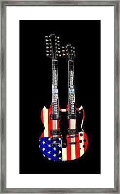 U S Flag Gibson Guitar Poster Framed Print by Jean Goodwin Brooks