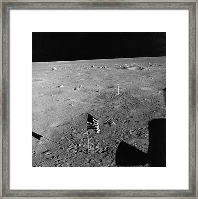 Us Flag On The Moon Framed Print by Underwood Archives