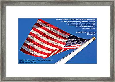 U S Flag Portrait At Chico Cemetery Framed Print by James Warren