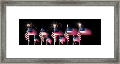Us Flags And Fireworks Framed Print by Panoramic Images
