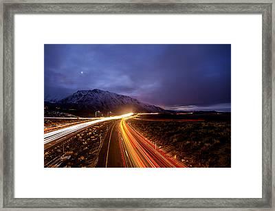 U.s. Hwy. 395 Light Trails Framed Print