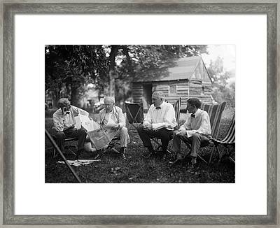 Us Industrialists And Us President Framed Print by Library Of Congress