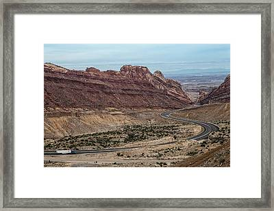 Us Interstate Highway 70 Winds Framed Print by Kent Kobersteen