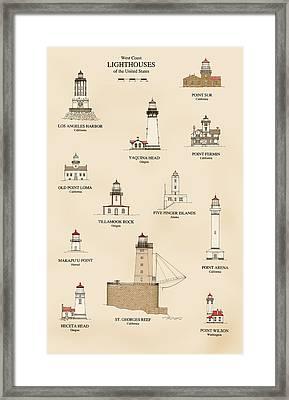 Lighthouses Of The West Coast Framed Print