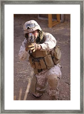 Us Marine At Work Framed Print by Shoal Hollingsworth