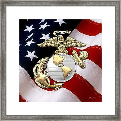 U. S. Marine Corps - U S M C Eagle Globe And Anchor Over American Flag. Framed Print