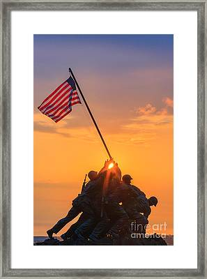 Us Marine Corps War Memorial Framed Print by Henk Meijer Photography